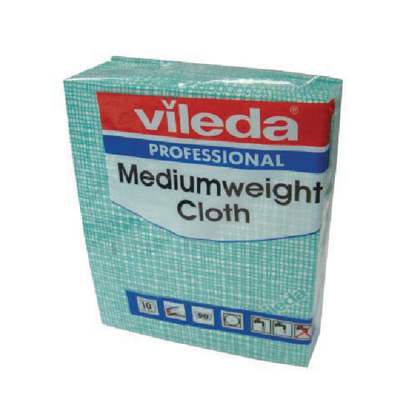 Vileda Medium Weight Cloth Green (Pack of 10) 106401