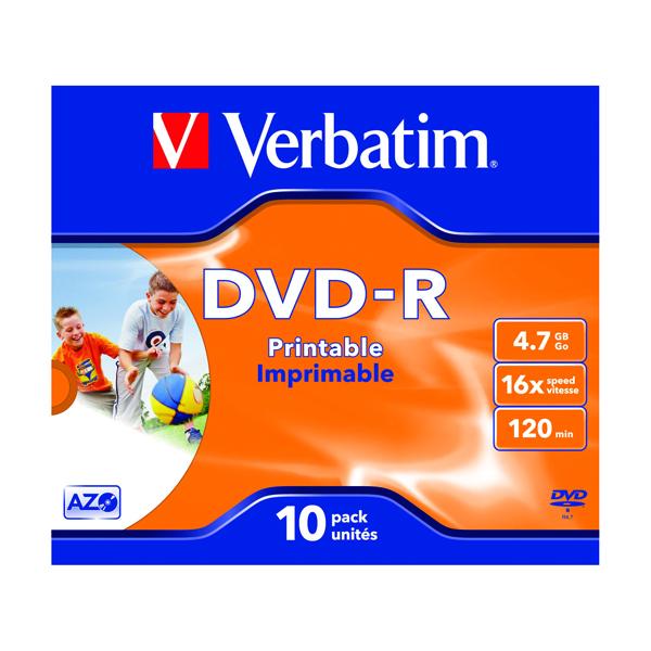 Verbatim 4.7GB 4x Speed Jewel Case DVD-R (Pack of 10) 43285