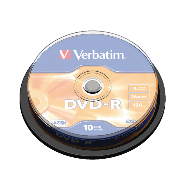 Verbatim 4.7GB 4x Speed Jewel Case DVD-R (Pack of 10) 43486