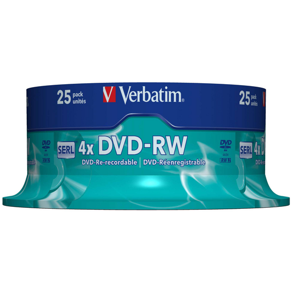 Verbatim DVD-RW 4X Silver Non-Printable Spindle (Pack of 25) 43639