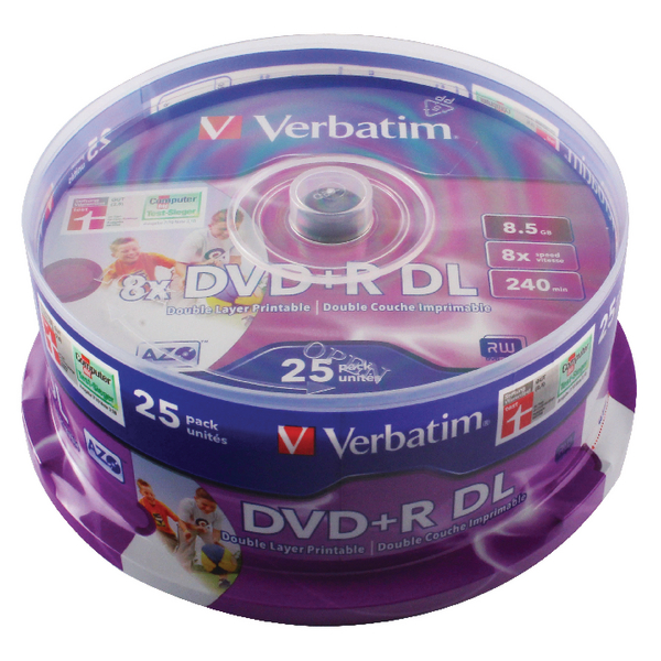 Verbatim DVD+R 8X Double Layer Wide Inkjet Printable Spindle (Pack of 25) 43667