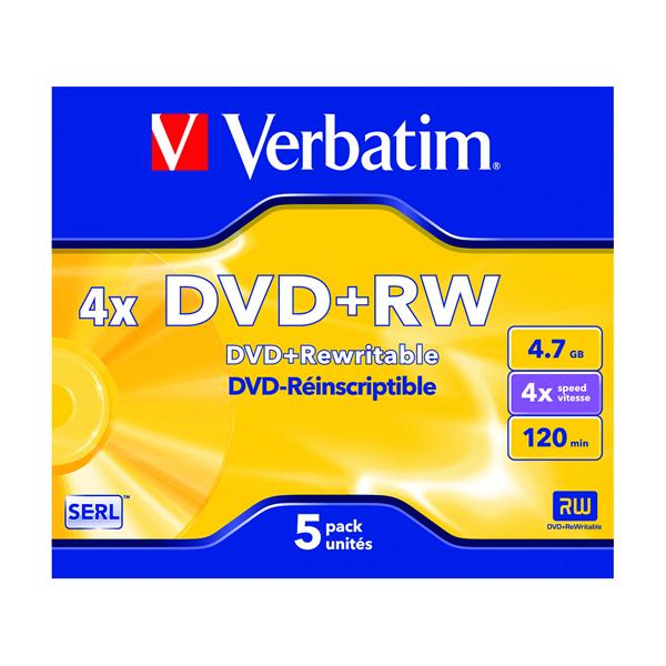 Image for Verbatim DVD+RW 4x (Pack of 5) 43229