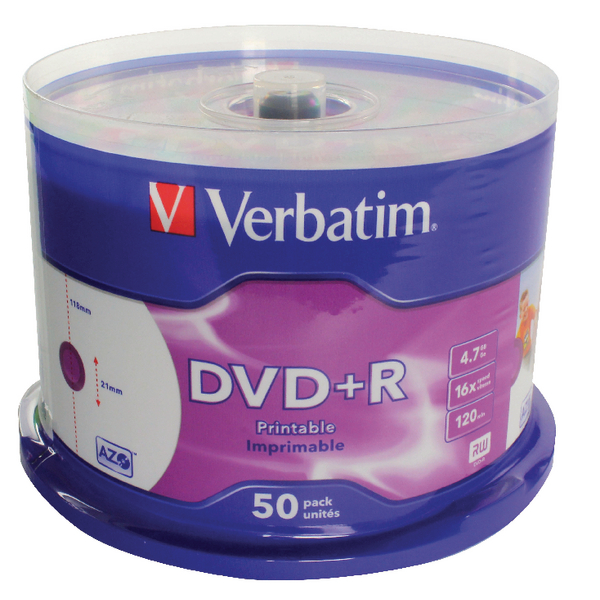 Image for 50 x Verbatim 4.7GB 2x Speed DVD+R (Write a full DVD in just 4 minutes) 43234