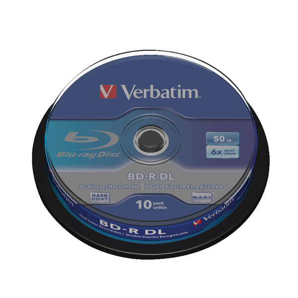 Image for Verbatim Blu-ray BD-R 50 GB 6x Spindle (Pack of 10) 43746