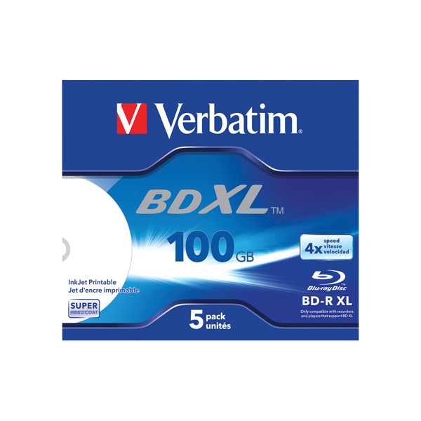 Image for Verbatim BD-R XL 100 GB 4x Wide Printable Jewel Case Pack of 5