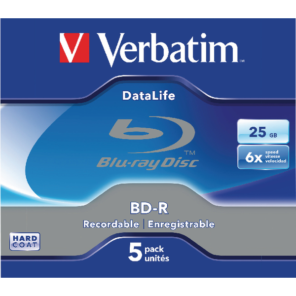 Image for Verbatim Blu-ray BD-R 25GB 6x Jewel Case (Pack of 5) 43836