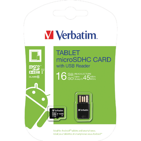 Verbatim Tablet micro SDHC Card with USB Reader 16GB 44058