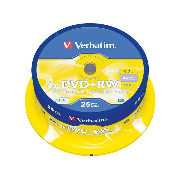 Verbatim DVD+RW 4x Spindle (Pack of 25) 43489