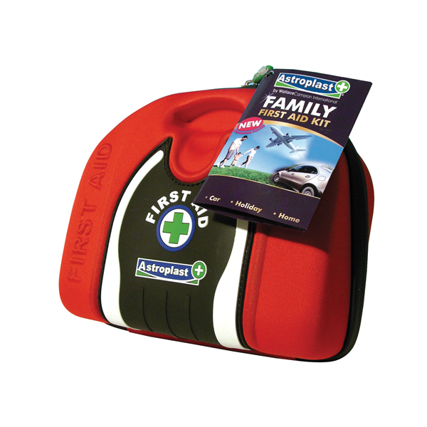 Astroplast Family First Aid Kit Pouch Red (Contains plasters, wipes, pins, dressings, tape) 1015016