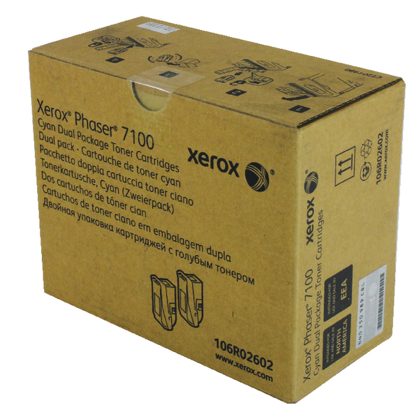 Xerox Phaser 7100 High Yield Cyan Toner Cartridge 106R02602 (Pack of 2)