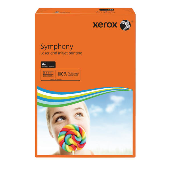 Xerox Symphony A4 Paper 80gsm Deep Tints Orange Ream 003R93953 (Pack of 500)