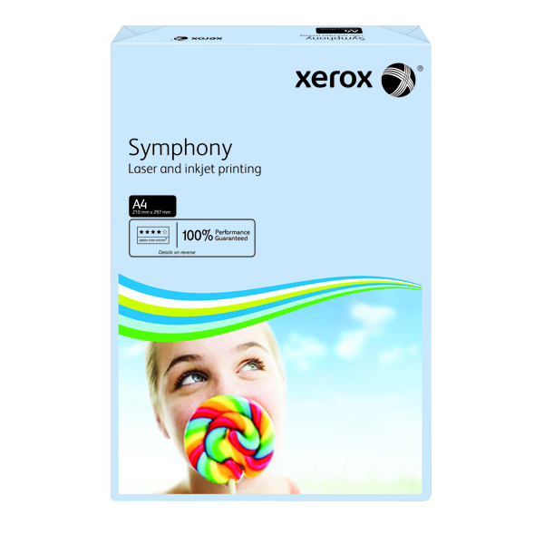 Xerox Symphony Pastel Tints Blue Ream A4 Paper 80gsm 003R93967 (Pack of 500)