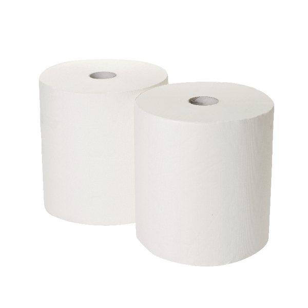 2Work 170mx250mm 3-Ply White Industrial Roll (Pack of 2) GEM503B