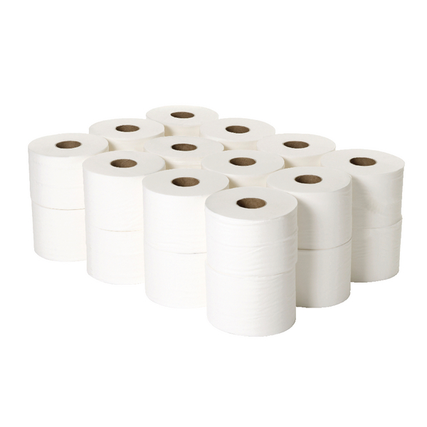 2Work 2-Ply White Micro Twin Toilet Roll 125m (Pack of 24)