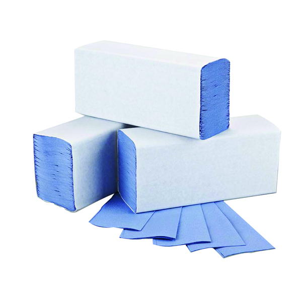 2Work Blue 1-Ply M-Fold Hand Towel 242x240mm (3000 Pack) 2W71923