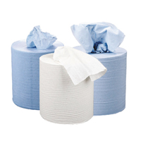 2Work Blue 3-Ply Centrefeed Roll 148m (Pack of 2)