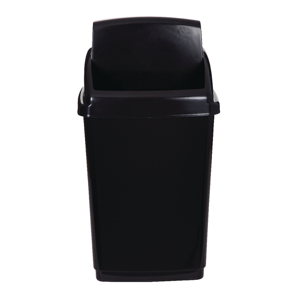 Image for 2Work Swing Top Bin 50 Litre Black RB02381
