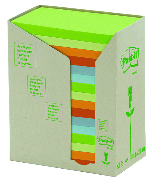 Post-it Note Recycled Tower Pack 76 x 127mm Pastel Rainbow (Pack of 16) 655-1RPT