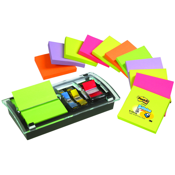 Post-it Designer Z-notes With Dispenser (Pack of 12) DS100-VP