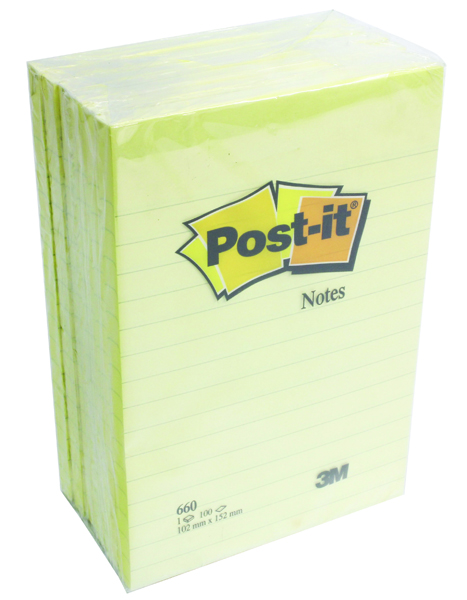 Post-it XXL Lined Notes 102 x 152mm Canary Yellow (Pack of 6) 660