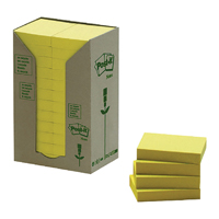 Post-it Note Recycled Tower Pack 38 x 51mm Yellow (Pack of 24) 653-1T