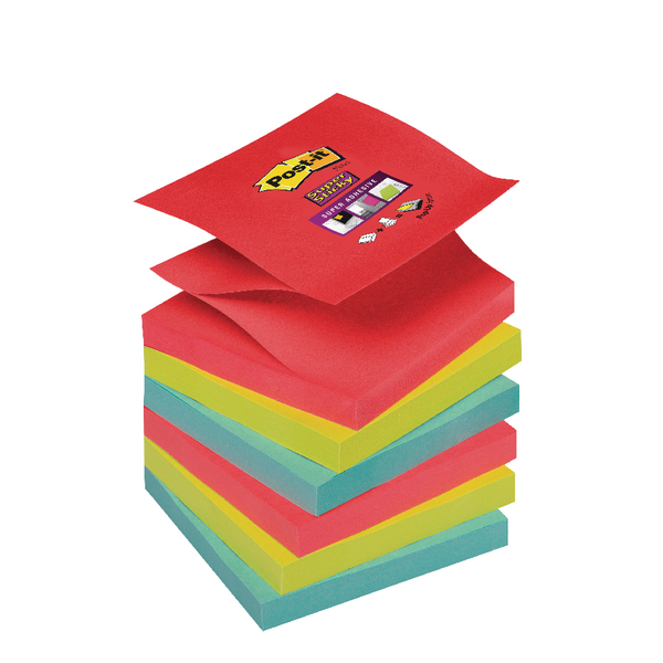 Post-it Super Sticky Z-Notes 76 x 76mm Bora Bora Collection (6 Pack) 70-0051-9784-6