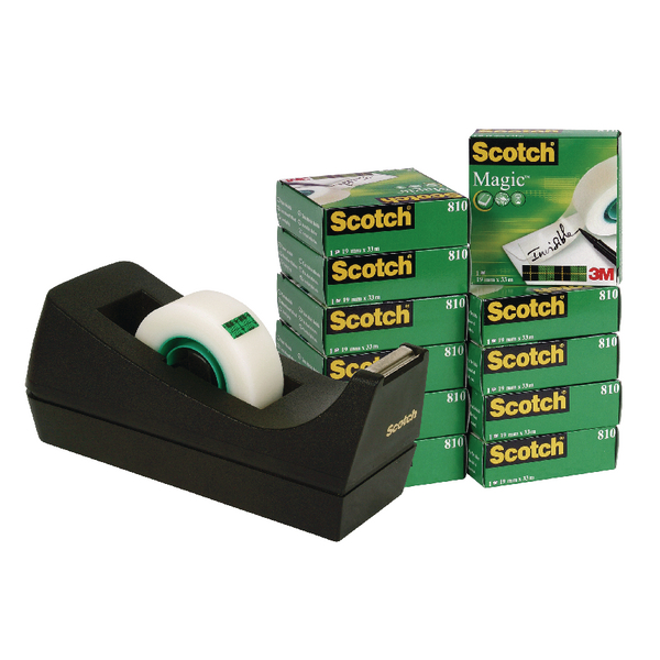 Scotch 19mm x 33m Magic Tape Pack of 12 with Free Black Dispenser ) SM12