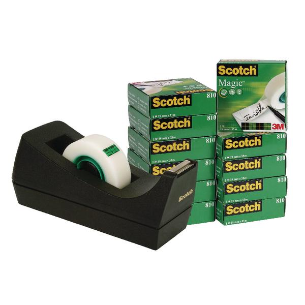 Scotch Magic Tape 19mm x33m (12 With Free Black Dispenser Pack) SM12