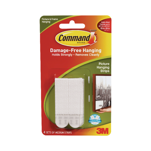 3M Command Medium Picture Hanging Strips (4 Pack) 17201-4PK
