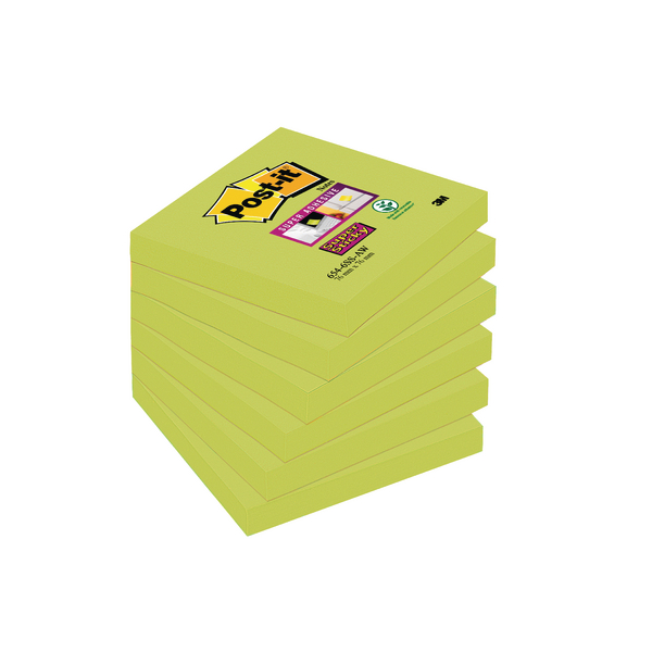 Post-it Super Sticky Notes 76 x 76mm Asparagus (Pack of 6) 654-6SS-AW
