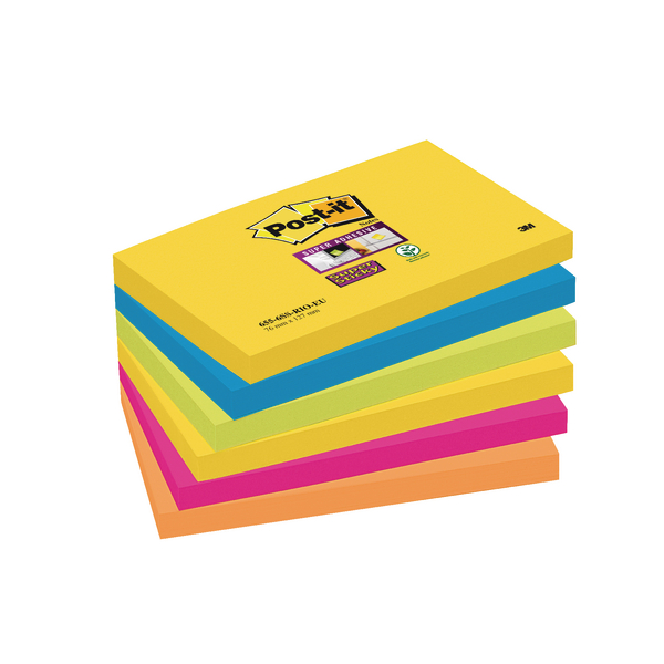 Post-it Super Sticky Notes 76x127mm Rio Assorted (Pack of 6) 655-6SS-RIO-EU