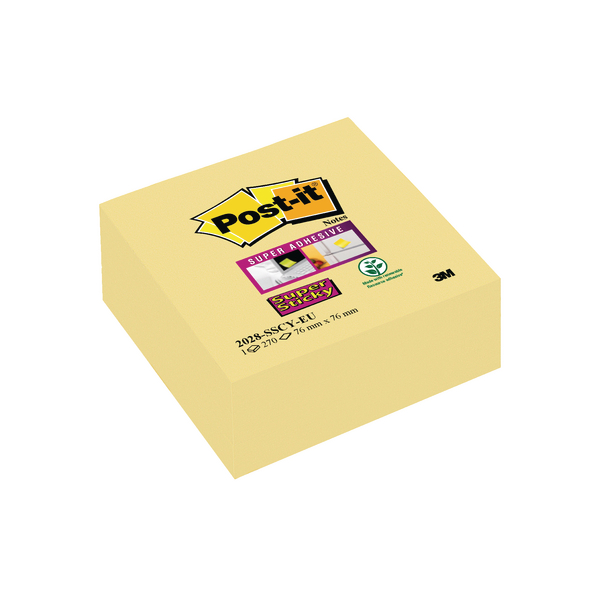 Post-it Note Cube Super Sticky 76x76mm Canary Yellow 2028-SSCY-EU