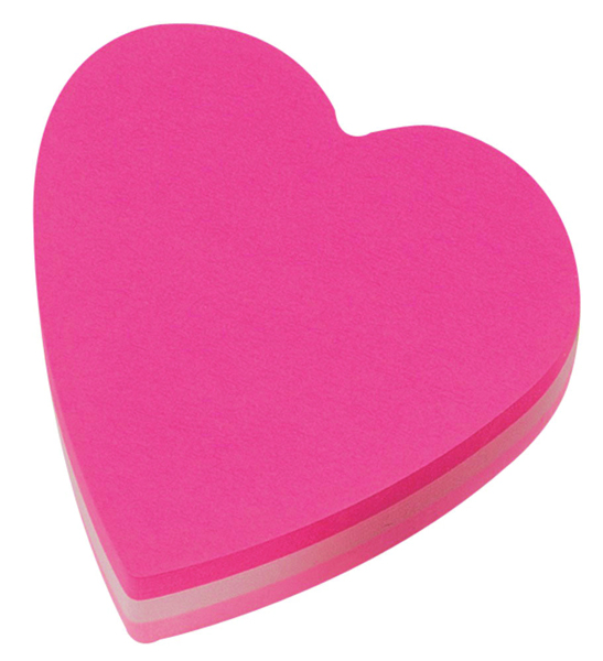 Post-it Heart 70 x 70mm Pink Notes Pack of 12 2007H