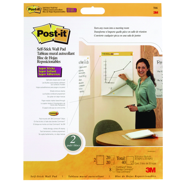 Post-it Table Top Meeting Chart White Refill Pad (Pack of 2) 566