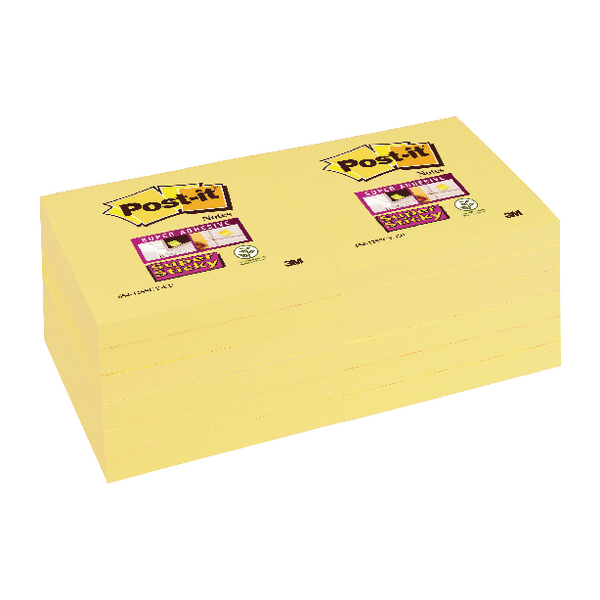 Post-it Super Sticky Note Canary Yellow 76 x 76mm (Pack of 12) 654-12SSCY