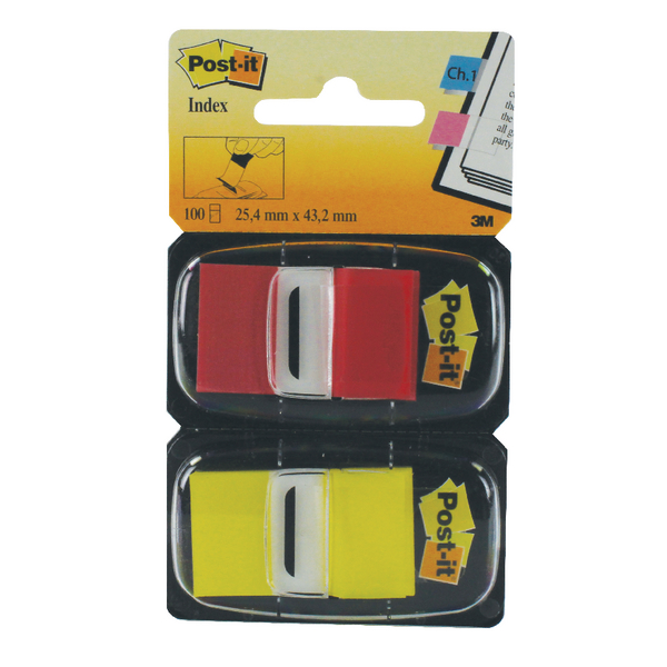 Post-it Index 1 Inch Dual Pack Red and Yellow (100 Pack) 680-RY2
