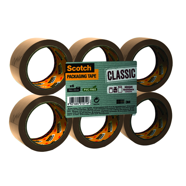 Scotch Buff Packaging Tape Polypropylene 50mm x 66m (6 Pack) C5066SF6