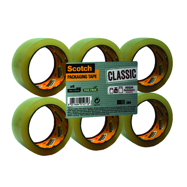 Scotch Clear Packaging Tape Polypropylene 50mm x 66m (Pack of 6) C5066SF6