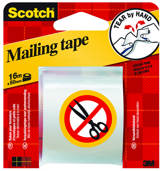 Scotch Clear Hand Tearable Packaging Tape 50mm x 16m E5106C