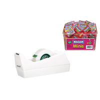 Scotch Tape Dispenser White with 4 Rolls of Magic Tape 19mm x 33m (Pack of 1) FOC Pk40 Maoam Minis