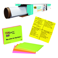 Dry Erase Roll and Big Notes with Free Pack of 4 SuperSticky Neon Notes