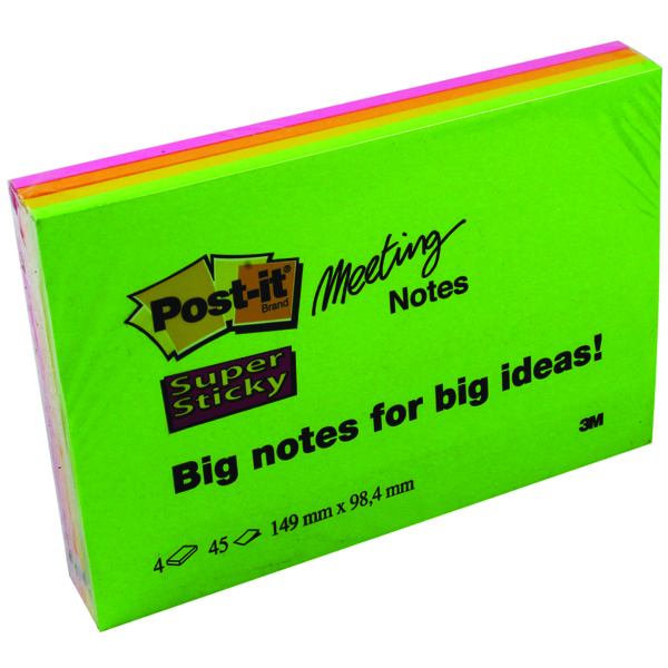 Post-it Meeting Notes Super Sticky Neon Assorted 152 x 101mm (4 Pack) 6445-4SS
