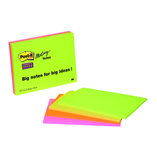 Post-it Meeting Notes Super Sticky Neon Assorted 200 x 149mm (Pack of 4) 6845-SSP