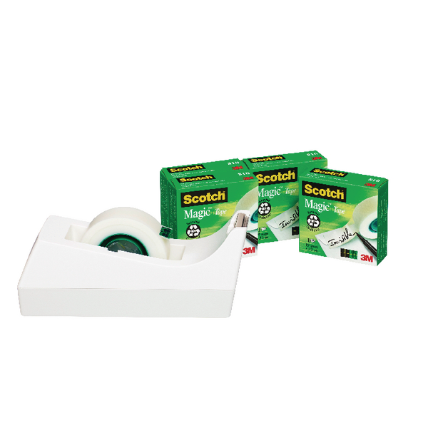 Scotch Magic Tape 810 x 4 + FOC Dispenser (Pack of 4) SM4-W-EU