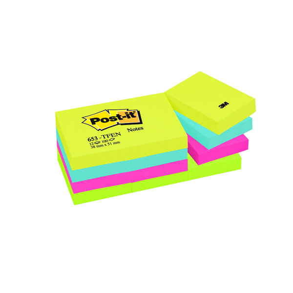Post-it 38x51mm Energy Colours Notes (12 Pack) 653TF
