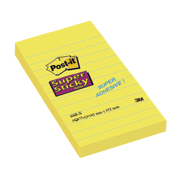 Post-it Super Sticky 152x102mm Ruled Feint Yellow Notes (Pack of 6) 660S