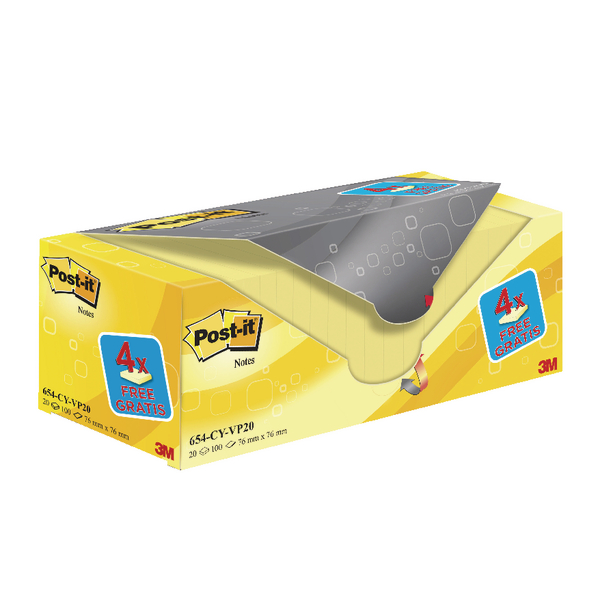 Post-it 20 Notes +4 Free 76x76mm