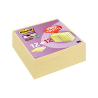 Post-it Notes Super Sticky 76 x 76mm Canary Yellow (Pack of 12) Plus 12 Free 7100050920