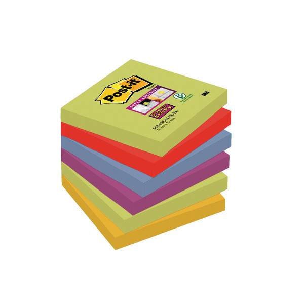Post-it Super Sticky 76x76mm Marrakesh Notes (Pack of 6) 654-6SS-MAR-EU