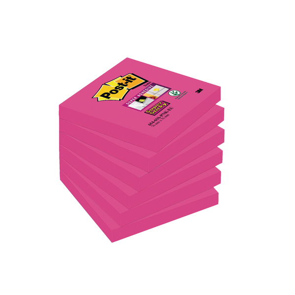 Post-it Super Sticky Notes 76x76mm Fuchsia (Pack of 6) 654-6SS-PNK-EU